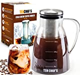 ONE DAY SALE! - Cold Brew Coffee Maker and Tea infuser - 32OZ - Premium Glass pitcher with lid Stainless Steel FilterPerfect For Homemade Cold Brew and Iced Coffee,Easy to clean and wash by Tenchefs