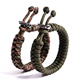 The Friendly Swede (TM Bundle of 2 Premium Fish Tail 350 lb Paracord Bracelets With Metal Clasp - Adjustable Size Fits 7-8.5 Inch Wrist (Army Green + Army Green Camo)