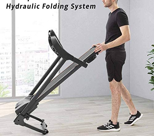 Unique-Shop Treadmills for Home 300 lbs Weight Capacity Folding Motorized Running Jogging Machine with Audio Speakers and Incline 5