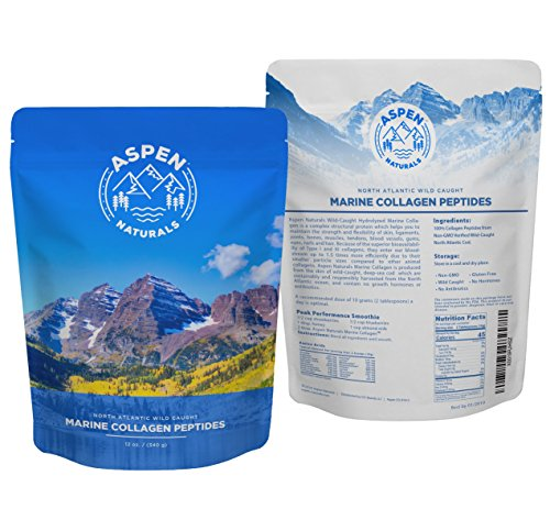 Marine Collagen Peptides Protein Powder - Sourced from Wild Caught North Atlantic Cod - Premium Fish Supplement for Bone, Joint, Gut, Hair and Nail Health - Non GMO, Gluten-Free - 12oz, Aspen Naturals