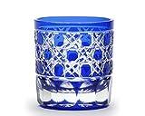 Edo Kiriko Glass Studio Sai Feng Kagome octagonal pattern sake Ruri M-507