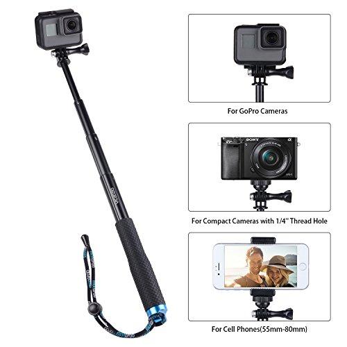 "Vicdozia Selfie Stick, 28.5"" Hand Grip Extendable Monopod Adjustable Pole Waterproof Handle for GoPro Hero 6/5/4/3+/3/2/1/Session SJCAM, AKASO, Xiaomi Yi, Compact Cameras/Cell Phones"