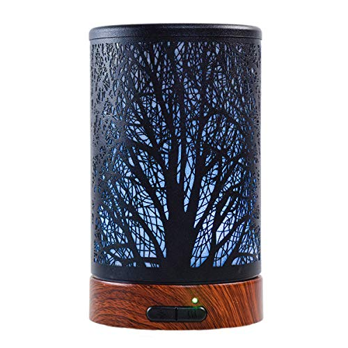Ultrasonic Cool Mist Essential Oil Diffuser 100ml Capacity Metal Aromatherapy Diffuser with Waterless Auto Shut-Off Protection,7 Colors Changed LED for Home,Office,SPA (Tree)