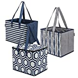 Planet E Reusable Grocery Shopping Bags – 2 Large Collapsible Boxes & 1 Large Collapsible Insulated zippered Cooler with Reinforced Bottoms Made of Recycled Plastic (Pack of 3)