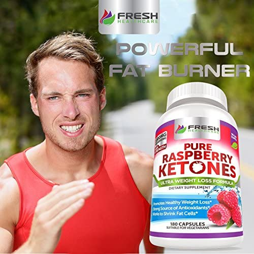 Pure 100% Raspberry Ketones Max 1000mg Per Serving - 3 Month Supply - Powerful Weight Loss Supplement - Provides Energy Boost for Weight Loss - 180 Capsules by Fresh Healthcare 6