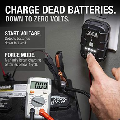 NOCO-GENIUS1-1-Amp-Fully-Automatic-Smart-Charger-6V-and-12V-Battery-Charger-Battery-Maintainer-Trickle-Charger-and-Battery-Desulfator-with-Temperature-Compensation