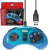 Retro-Bit Official Sega Genesis USB Controller 8-Button Arcade Pad for Sega Genesis Mini, Nintendo Switch, PC, Mac, Steam, RetroPie, Raspberry Pi - USB Port - Clear Blue