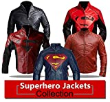Spazeup New Superman Black and Red Faux Leather Jacket, X-Large