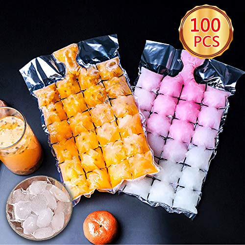 Ice Cube Tray Easy Release,100 Pcs Ice Molds,2400 Ice Cubes,Food-Grade PE Material,Efficient Filling And Space-Saving,No Peculiar Smell Ice Mold