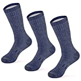 MERIWOOL Merino Wool Hiking Socks for Men and Women - 3 Pairs Midweight Cushioned - Warm n Breathable - Large/Blue