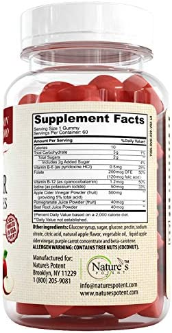 Apple Cider Vinegar Gummies 100% Non-GMO, Natural Detox and Cleanse, Unfiltered ACV – Apple Flavored Gummy Best Alternative to Apple Cider Vinegar Capsules, Pills by Nature's Potent 6