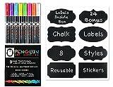 Professional Artist 3MM Fine Tip Chalk Marker Pens - Set of 8 Color Wet Erase Markers + BONUS 24 Chalk Board Stickers