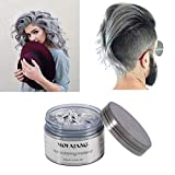 Mofajang Silver Grey Hair Color Wax, Natural Hairstyle Wax 4.23 oz, Temporary Hairstyle Cream for Party, Cosplay, Halloween, Daily use, Date, Clubbing (Silver Grey)