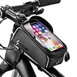 Bike Bicycle Phone Bags Waterproof - Front Frame Top Tube Mount Handlebar Bags with Touch Screen Phone Holder Case Sports Bicycle Bike Storage Bag Cycling Pack Fits iPhone 7 8 Plus xs max (Large)