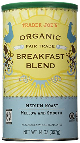 Trader Joe's Organic Fair Trade Breakfast Blend Whole Bean Coffee, 14 Ounce