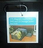2-Pc Magnetic Interlocking CD/DVD Holder/Organizer/Tray Black Mesh Metal