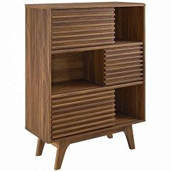 Modway  Render Three-Tier Display Storage Cabinet Stand, Walnut