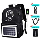 Solar Luminous Backpack with Detachable Solar Panel & USB Charging Port & Power Bank & Anti-Theft Lock, Waterproof Anime Black School Bag Daypack Travel Laptop Bag 15.6 in Boys Girls Men Teens