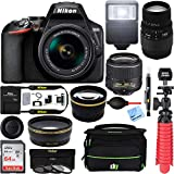 Nikon D3500 24.2MP DSLR Camera (1590) + (18-55mm VR 70-300mm SLD DG Sigma Lens Package, Black) + Bundle 64GB SDXC Memory + Photo Bag+Wide Angle Lens + 2X Telephoto+Flash + Tripod + Filters