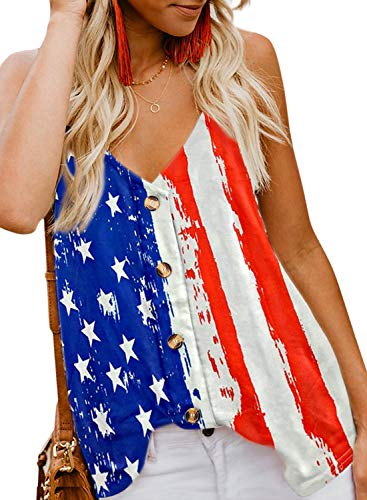 BLENCOT Women's American Flag Tank Tops 4th July Patriotic USA Flag Striped Stars Sleeveless Shirts Blouses M
