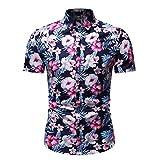 LUCAMORE Men's Hawaiian Flower Print Casual Button Down Short Sleeve Slim Fit Shirt Pink
