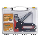 3-Way Staple Gun,Yoolight Heavy Duty Steel Staple Gun for Fixing Material, Decoration, Carpentry, Furniture] (600 Staples Attached)
