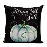 Aremetop Autumn Pumpkin Throw Pillow Covers Cotton Linen Farmhouse Decor Pillowcases Happy Fall Yall Season Greetings Quote Cushion Cover 18''x18'' Halloween Thanksgiving Decorative Festival Gift