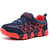HOBIBEAR Boys Girls Sneakers Kids Hook and Loop Lightweight Running Shoes,Red/Blue,11.5 M US Little Kid