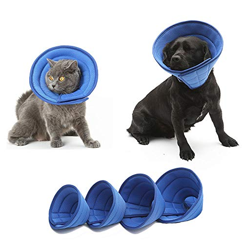 HenryDong Breathable Mesh Elizabethan Collar, Blue Soft Comfy Adjustable E-Collar, Quicker Healing Pet Recovery Cone, Soft Edges,Anti-Bite/Lick for Small Medium Dog, Cat, Rabbit.