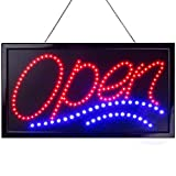 Large LED Neon Open Sign for Business Displays: Jumbo Light Up Sign Open with 2 Flashing Modes - Electronic Lighted Signs for Bars, Liquor Stores (24 x 13 inches, Model 1)