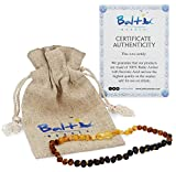Baltic Amber Teething Necklace for Babies (Unisex) (Raw Rainbow) - Anti Inflammatory, Drooling & Teething Pain Reduce Properties - Natural Certificated Oval Baltic Jewelry with The Highest Quality