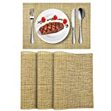 Wlife Placemats, Heat-Resistant Place mats, Stain Resistant Washable PVC Table Mats, Cross Weave Non-Slip Vinyl Table Mats 18'X12'