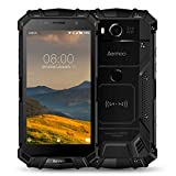 Rugged Cell Phones Unlocked, Aermoo M1 4G LTE Dual Sim GSM Outdoor Smartphone Android 7.0 5580mAh Helio P25 Octa-core 5.2'' FHD IP68 Waterproof Dustproof Shockproof mobile Phone 64GB ROM 6GB RAM-Black