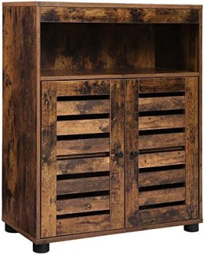VASAGLE Bathroom Storage Cabinet, Cupboard with Louvered Doors, Rustic Design, Open Compartments, Adjustable Shelf, 23.6 x 11.8 x 31.5 Inches, Rustic Brown UBBK44BX