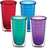 Tervis 1037267 Clear & Colorful Insulated Tumbler 4 Pack - Boxed, 16 oz Tritan, Assorted