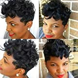YOURWIGS Short Curly Wigs for Black Women Synthetic Heat Resistant Hair Perfect for Daily Wear with Wig Cap (Black) 150 Gram Z061