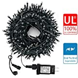 Decute Upgraded 105 Feet 300 LED Christmas String Lights with End-to-End Plug 100% UL Certified Fairy Light Outdoor Indoor, for Christmas Tree Wedding Party Patio Garden Decoration, Warm White