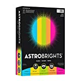 Astrobrights Color Paper, 8.5' x 11', 24 lb/89 gsm, 'Brights' 5-Color Assortment, 500 Sheets (99608)