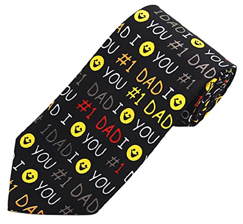 Fathers Day #1 Dad Mens Novelty Necktie Holiday Gift (Black)