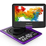 "COOAU 11.5' Portable DVD Player with Built-in Rechargeable Battery, Game Joystick, 9.5"" Eyesight Protective HD Screen, Support AV-in/Out, SD Card and USB Port, Region Free, Purple"
