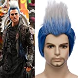Mersi Men Costume Wigs Hades Cosplay Short Straight Blue Ombre White Wig for Helloween Cosplay Party S043BW
