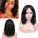 WIGER Brazilian Human Hair Wigs Middle Part Natural Wave Wig Short Wavy Natural Black Color Virgin Human Hair Wigs for Black Women African American 12 Inches