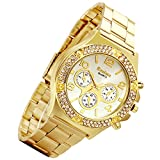 Lancardo Luxury Bling Double Daul Rhinestone Bezel Gold Tone Watch (3 colors) (Gold)