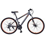 Murtisol Mountain Bike 27.5'' Hybrid Bicycle 21 Speed with Suspension/Dual Disc Brake in 4 Color (Grey Orange)