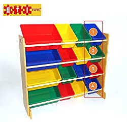 ETI Toys -16 Extra Capacity Bins Organizer and Storage Shelves for Easy Sorting & Organizing. Kids Bedroom Furniture Shelf Chest Rack with Non-Toxic Plastic Toy Box Containers for Boys & Girls Room.