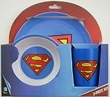 Superman Children's Blue Melamine Plate, Bowl and Cup Set by DC Comics