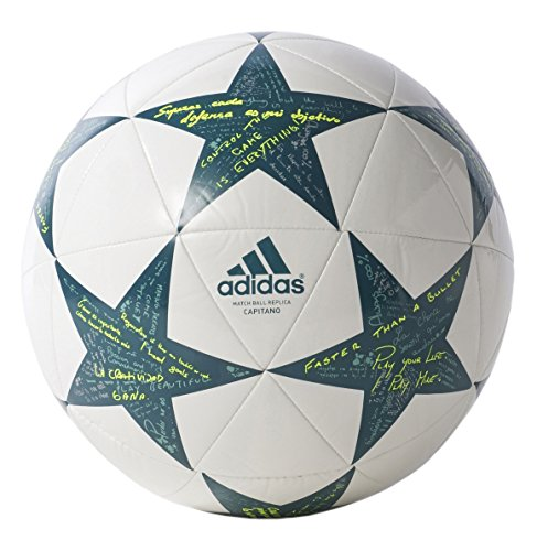 adidas Performance Champions League Finale Capitano Soccer Ball, White/Vapor Steel Grey/Tech Green, Size 3