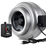 iPower GLFANXINLCTR10 10 Inch 862 CFM Duct Inline HVAC Exhaust Blower Ventilation Fan with Variable Speed Controller, 10', Grey