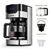 Aicook Coffee Maker, 10 Cup Programmable Coffee Machine with Coffee Pot, Drip Coffee Maker with Timer and Thermal Pot, Permanent Filter Coffee Maker, Black