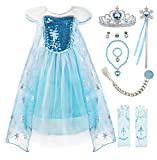 Padete Little Girls Anna Princess Dress Elsa Snow Party Queen Halloween Costume (6 Years, Blue SS with Accessories)